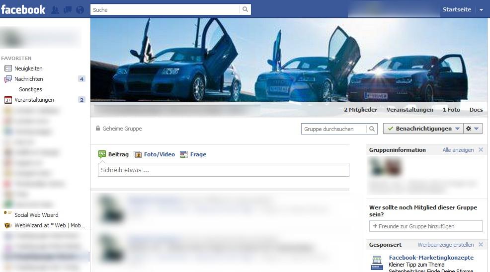 Facebook Gruppe: Neues Layout im Beispiel