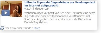 Beispiel: Video-Spam als Status in Facebook